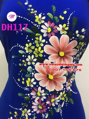 vải áo dài vẽ hoa đẹp màu xanh dương đậm (3)