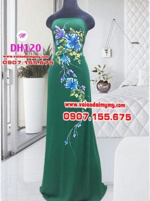 vải áo dài vẽ hoa cúc đại đoá màu xanh đậm (1)