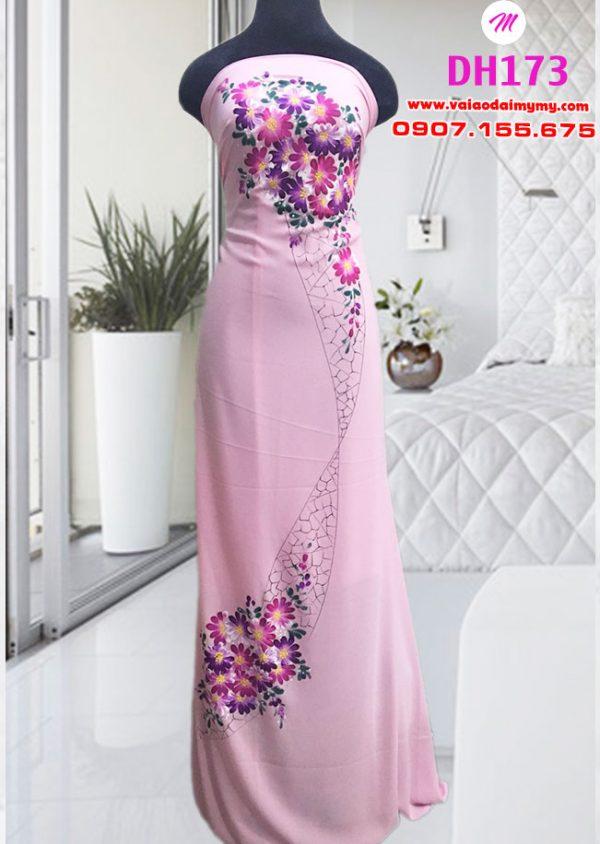 vải áo dài vẽ màu hồng đẹp (1)
