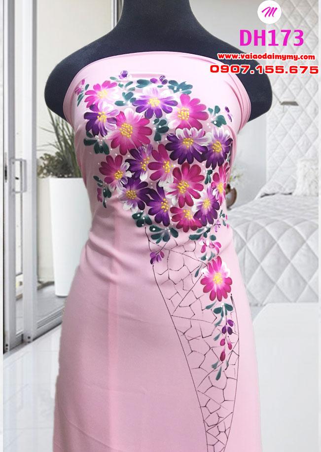 vải áo dài vẽ màu hồng đẹp (2)