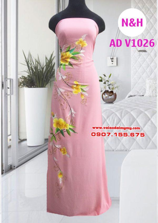 Áo dài vẽ tay màu hồng dâu