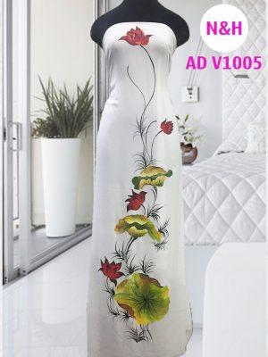 áo dài vẽ hoa sen trắng