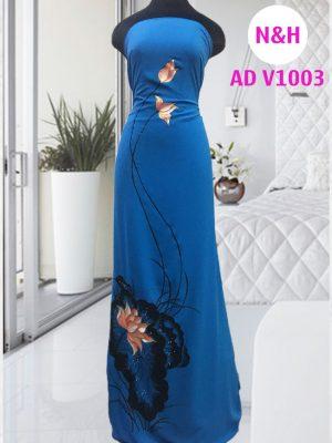 áo dài vẽ hoa sen vải màu xanh