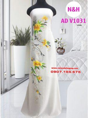 Vải áo dài vẽ hoa cao cấp màu trắng
