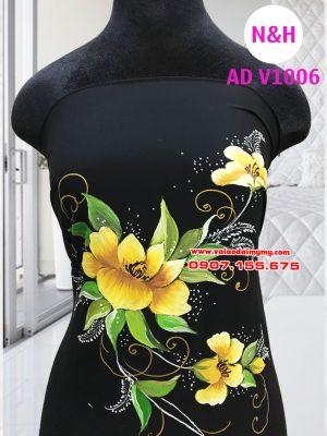 vải áo dài vẽ hoa cao cấp màu đen