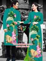 Vải áo dài cặp đôi hoa sen