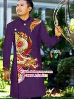 Vải áo dài nam hình rồng đẹp