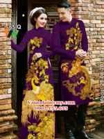 Vải áo dài cặp đôi hoa mai và rồng