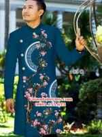 Vải áo dài nam hoa đào AD IW83
