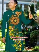 Vải áo dài nam hoa văn trống đồng AD IW84