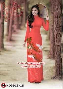 Vải áo dài cành hoa phượng AD HD3913