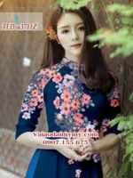 Vải áo dài hoa nổi trên ngực AD TED a3711