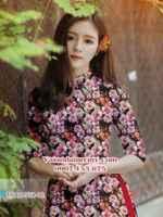 Vải áo dài hoa hồng đều AD TNAD 758
