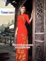 Vải áo dài hoa đào đẹp AD CHAD 1234