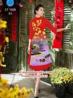 Vải áo dài cách tân phong cảnh Mùa Xuân AD CT 1039