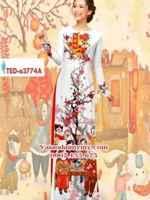 Vải áo dài phong cảnh đón tết AD TED A3774