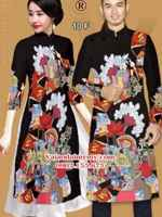 Vải Áo dài cặp đôi hoa văn đẹp AD IW 10
