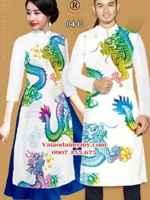 Vải áo dài cặp đôi hình rồng AD IW 04