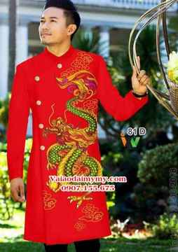 Vải Áo dài nam đẹp hình rồng AD IW 81