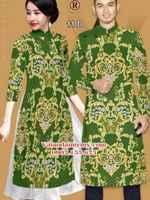 Vải Áo dài nam nữ đẹp hình hoa văn AD IW 11