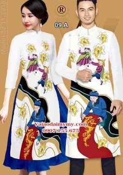 Vải Áo dài nam nữ cặp đôi ông đồ AD IW 09