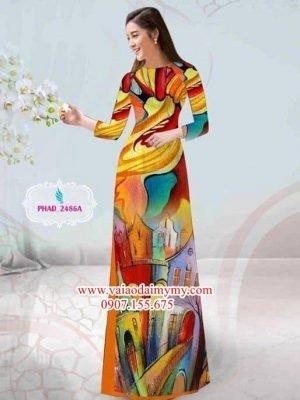 Vải áo dài phong cảnh nổi bật AD PHAD 2486