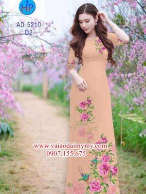 Vải áo dài Hoa và chim AD 5210