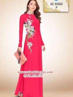 Vải áo dài Hoa ly ly AD B3663