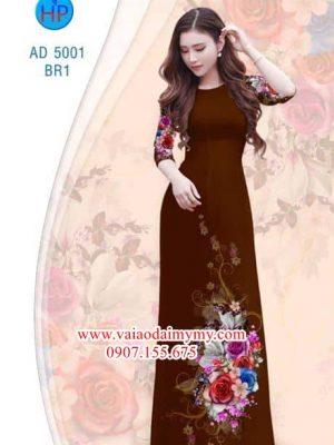 Vải áo dài Hoa hồng AD 5001
