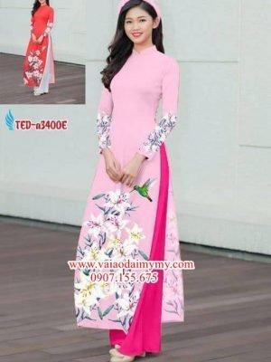 Vải áo dài hoa ly đẹp AD TED a3400