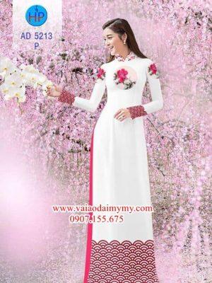 Vải áo dài Hoa văn và hoa mẫu đơn AD 5213