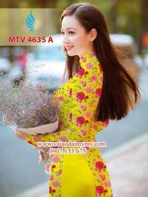 Vải áo dài hoa hồng đều AD MTV 4635
