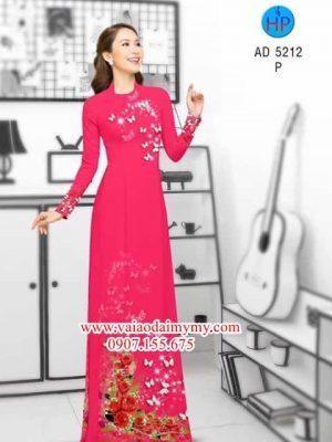 Vải áo dài Hoa hồng và bướm! AD 5212
