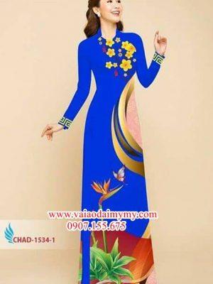 Vải áo dài hoa thiên điểu AD CHAD 1534