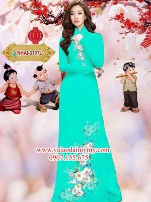Vải áo dài hoa đào AD NHAI 3107