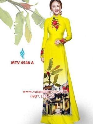 Vải áo dài hình phong cảnh AD MTV 4548