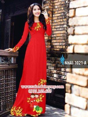 Vải áo dài hoa mai đón tết AD NHAI 1021