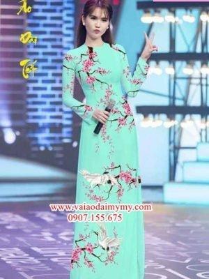 Vải áo dài hoa đào AD PHAD 2492