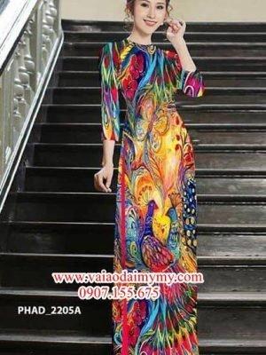 Vải áo dài hoa văn chim công AD PHAD 2205