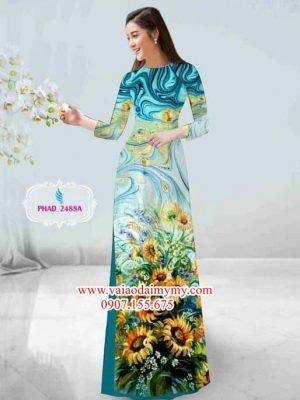 Vải áo dài hoa cúc AD PHAD 2488