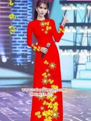 Vải áo dài hoa mai AD PHAD 2490