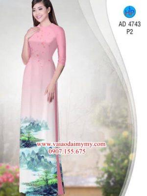 Vải áo dài Phong cảnh nhẹ nhàng thơ mộng AD 4743