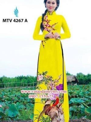 Vải áo dài hoa đào cẩm chướng AD MTV 4267