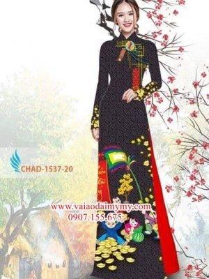 Vải áo dài hoa mai đón tết AD CHAD 1537