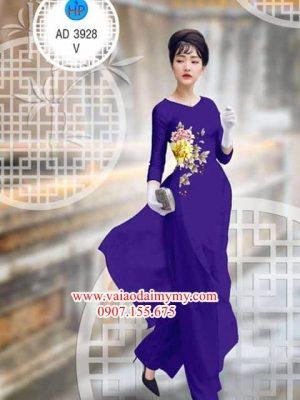 Vải áo dài Hoa Mẫu Đơn AD 3928