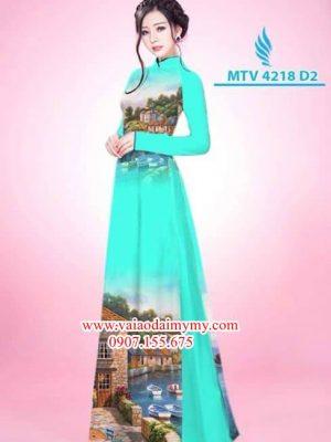 Vải áo dài phong cảnh AD MTV 4218