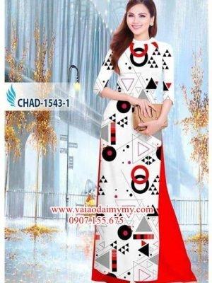 Vải áo dài hoa văn tròn và tam giác AD CHAD 1543