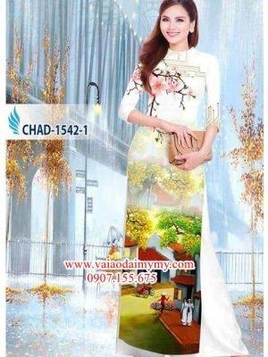 Vải áo dài phong cảnh AD CHAD 1542
