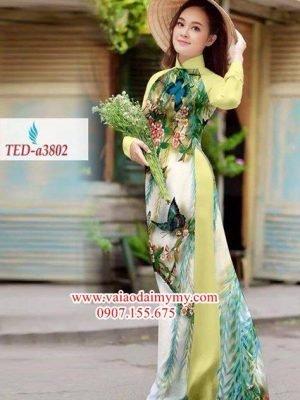 Vải áo dài hoa bướm rực rỡ AD TED a3802