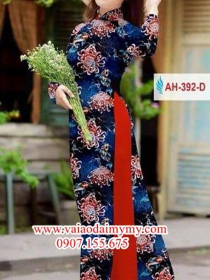 Vải áo dài hoa cúc đại đoá AD AH 392